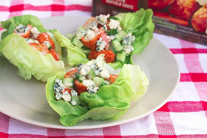 Lettuce Eat: Buffalo Chicken Lettuce Wraps with Janes ultimates Boneless Bites