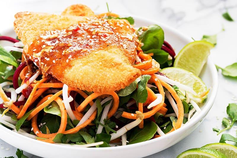 Sole panko et salade d'inspiration thaïlandaise