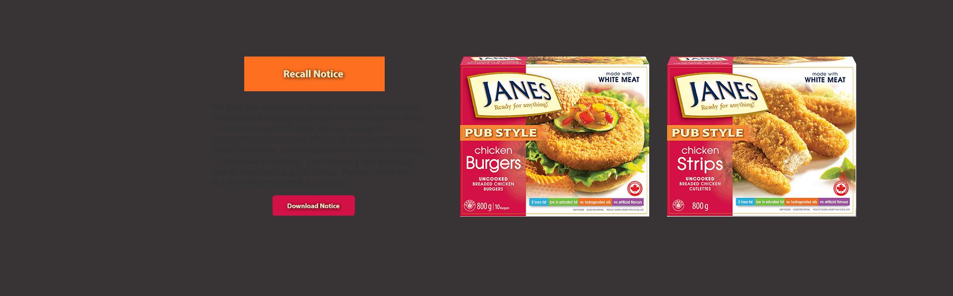 Janes Recall Notice