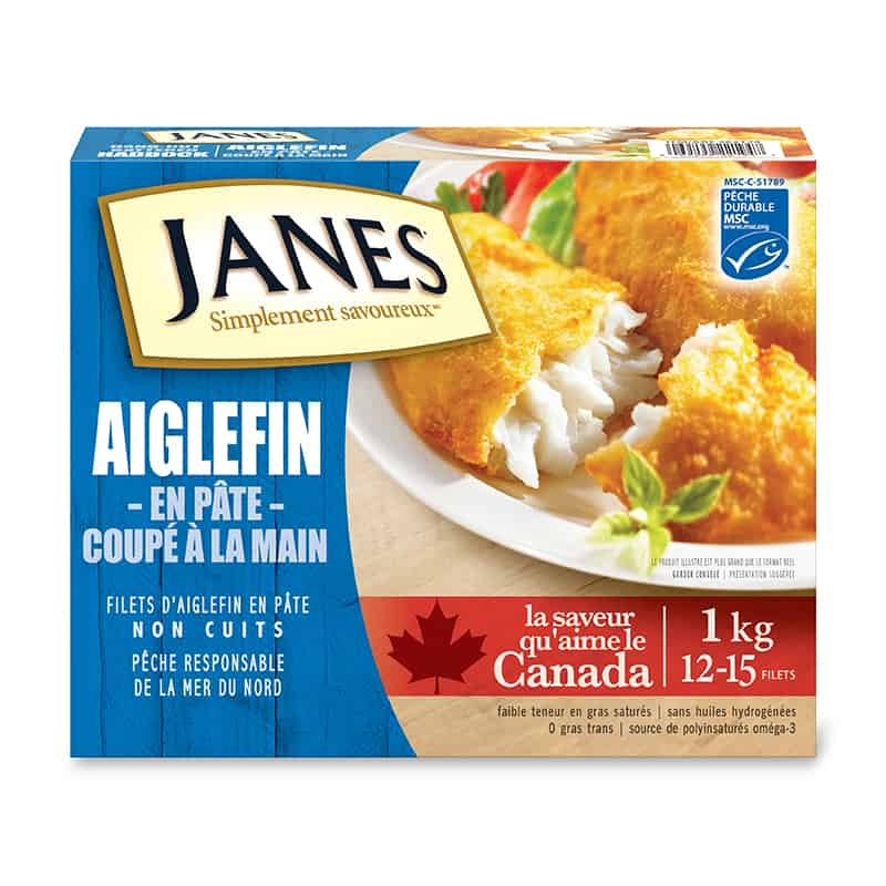 Filets d'aiglefin panés coupés à la main