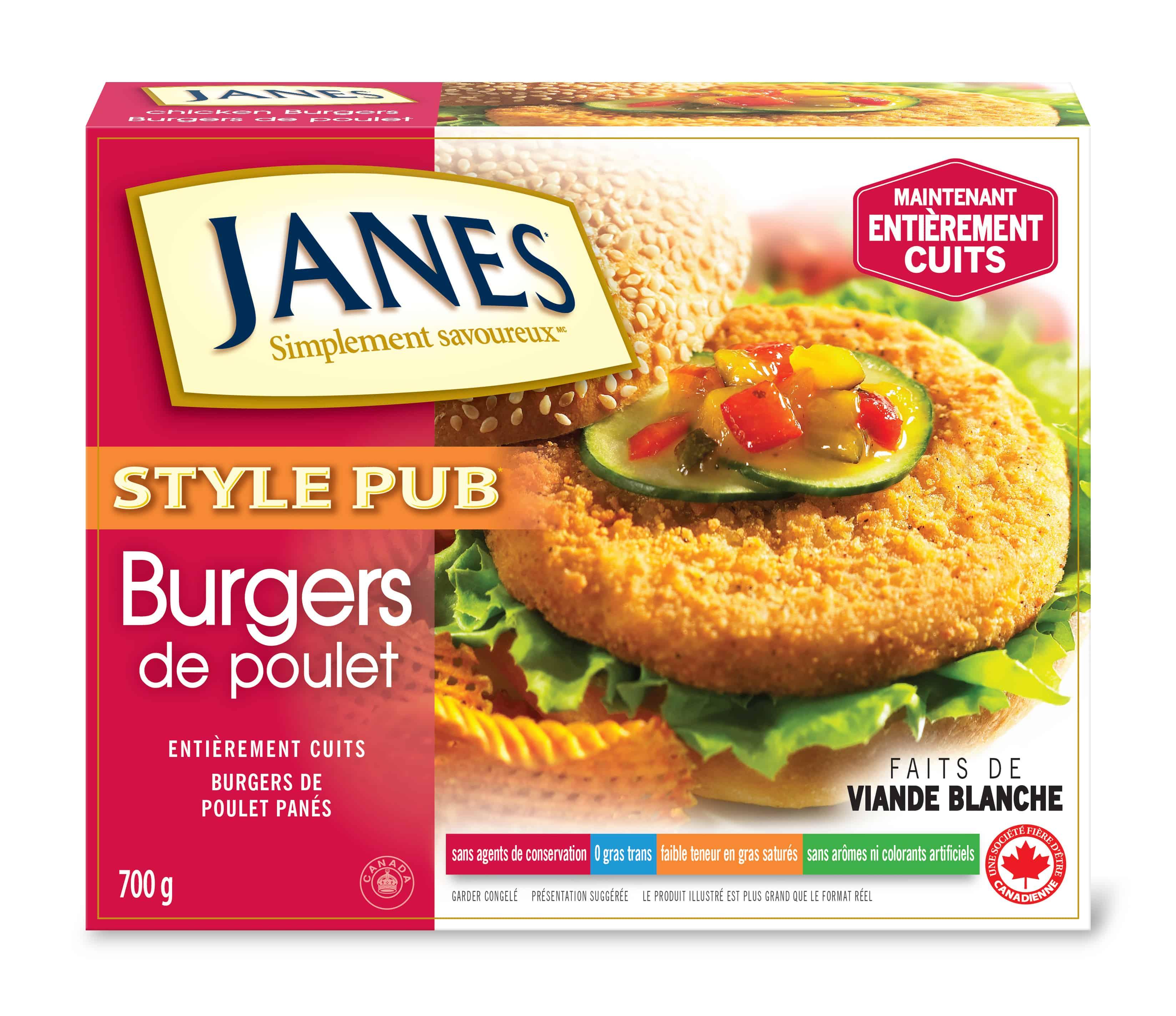 Hamburgers au poulet de style pub
