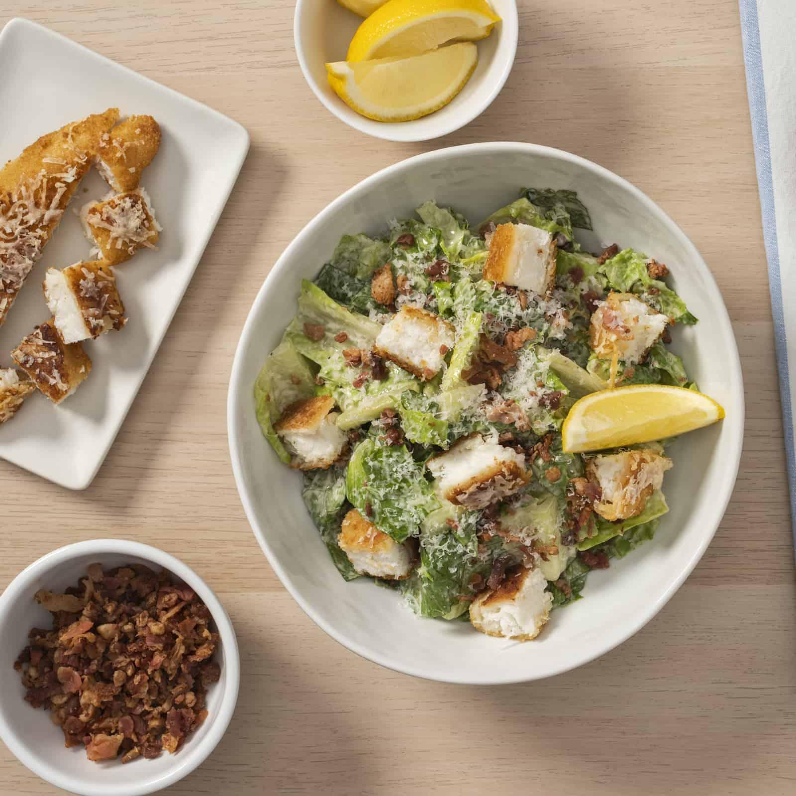 "Caesar Salad with Crispy Haddock ""Croutons"""