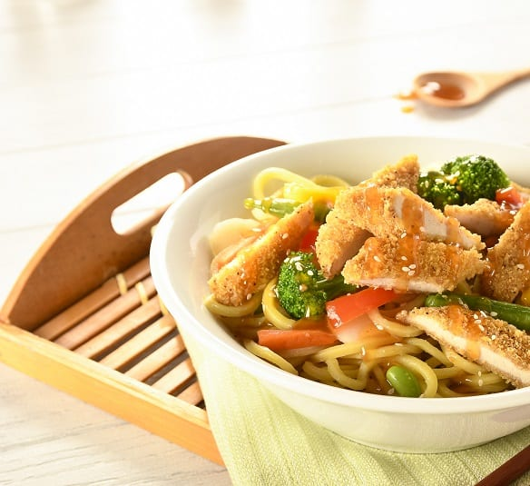 Honey Garlic Chicken Noodle Bowl with Janes Whole Wheat Strips