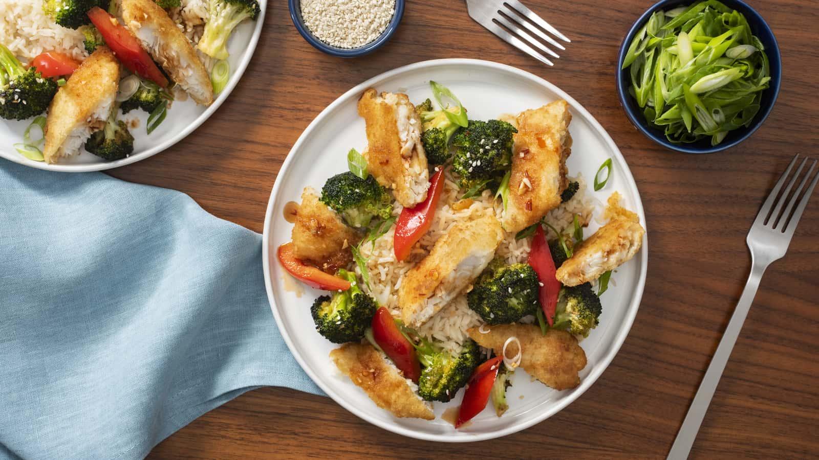 Sauté au sésame avec brocoli et aiglefin en pâte Janes ultimes